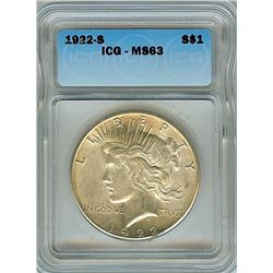 1922-S PEACE SILVER DOLLAR  ICG MS63