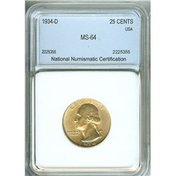 1934-D WASHINGTON SILVER 25 CNETS  NNC MS-64