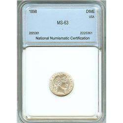 1898 BARBER SILVER DIME  NNC MS-63