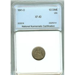 1841-O SEATED LIBERTY SILVER 1/2 DIME  NNC XF-40