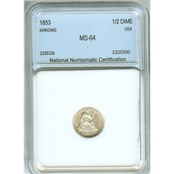 1853 SEATED LIBERTY SILVER 1/2 DIME  NNC MS-64