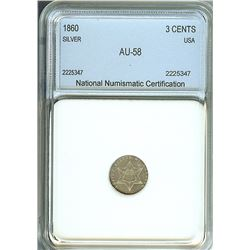 1860 SILVER 3 CENTS - TYPE 3 - NNC AU-58