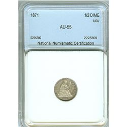1871 SEATED LIBERTY SILVER 1/2 DIME  NNC AU-55