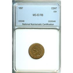 1897 INDIAN HEAD CENT  NNC MS-63 RB