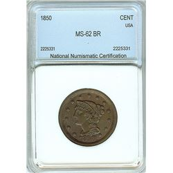 1850 BRAIDED HAIR LARGE CENT  NNC MS-62 BR