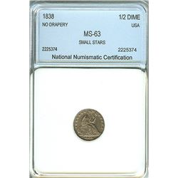 1838 SEATED LIBERTY SILVER 1/2 DIME - NO DRAPERY, SMALL STARS -  NNC MS-63