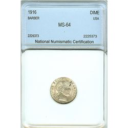 1916 BARBER SILVER DIME  NNC MS-64