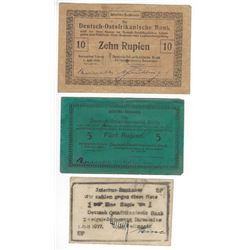 GERMAN EAST AFRICA EMERGENCY WWI ISSUED 1916-17 1R, 5 & 10 RUPIEN NOTES  SCARCE!