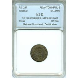 GALLIENUS 253-268 AD. AE ANTONINIANUS RIC#297, NNC MS-63, FROM THE ROCKBOURNE, HAMPSHIRE, HOARD