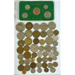 WORLD COINS 1907-1995 MIXED DATES AND DENOMINATIONS INCLUDING 1968 IRELAND MINT SET  55 COIN LOT
