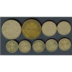 COLOMBIA 1921 & 1928 2-50 CENTAVOS LEPROSARIUM COINAGE NICE GROUP OF 9 COINS