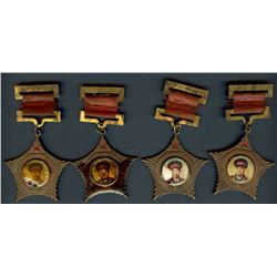 CHINA 1955 COMMUNIST STAR SERVICE AWARDS  FOUR DIFFERENT GENERALS