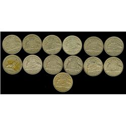 AUSTRALIA 1946-1963 FLORINS  NICE GROUP OF 13 COINS