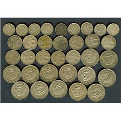 AUSTRALIA 1946-1963 THREE PENCE, SIX PENCE & SHILLINGS  34 COINS