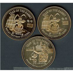 MACAU RETURNS TO CHINA 3 COIN NON-COLORIZED TRADE DOLLASR PROOF SET IN CAPSULES