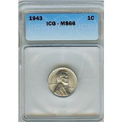 1943 STEEL LINCOLN WHEAT CENT ICG MS-66
