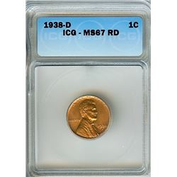 1938-D LINCOLN WHEAT CENT ICG MS-67 RED SCARCE THIS NICE!