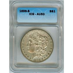 1896-S MORGAN SILVER DOLLAR ICG AU-53  BETTER DATE!