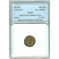 HALL, GERMANY 1300-1400 AD. SILVER HELLER -HAND OF GOD- NNC AU-58