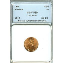 1988 LINCOLN MEMORIAL CENT -OFF CENTER MINT ERROR- NNC MS-67 RED