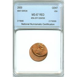 2000 LINCOLN MEMORIAL CENT -40% OFF CENTER MINT ERROR- NNC MS-67 RD
