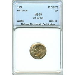 1977 ROOSEVELT 10 CENTS -OFF CENTER MINT ERROR- NNC MS-65