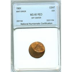 198x LINCOLN MEMORIAL CENT -OFF CENTER MINT ERROR- NNC MS-66 RED