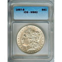 1897-S MORGAN SILVER DOLLAR ICG MS-62