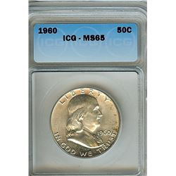 1960 FRANKLIN SILVER 50 CENTS ICG MS-65