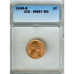1945-S LINCOLN WHEAT CENT ICG MS-67 RED SCARCE THIS NICE!