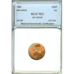 1987 LINCOLN MEMORIAL CENT -OFF CENTER MINT ERROR- NNC MS-67 RED