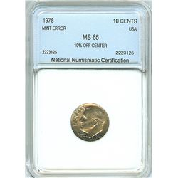 1978 ROOSEVELT 10 CENTS -10% OFF CENTER MINT ERROR- NNC MS-65