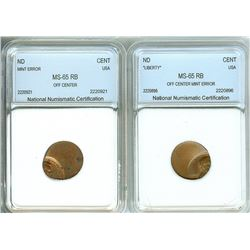 LINCOLN MEMORIAL CENT OFF CENTER MINT ERROR BOTH NNC MS65 RB