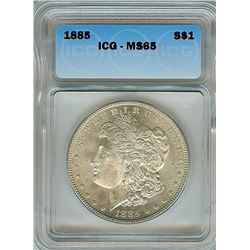 1885 MORGAN SILVER DOLLAR ICG MS65