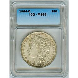 1884-O MORGAN SILVER DOLLAR  ICG MS65