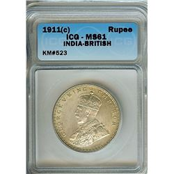 INDIA 1911(C) SILVER RUPEE ICG MS61  KM#523