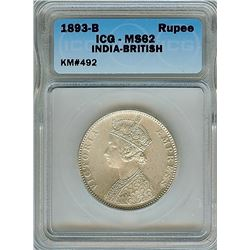 INDIA 1893-B SILVER RUPEE ICG MS62  KM#492