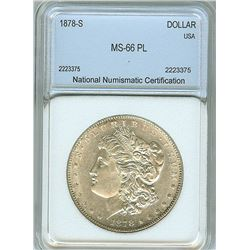 1878-S MORGAN SILVER DOLLAR  NNC MS66 PL