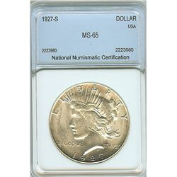1927-S PEACE SILVER DOLLAR  NNC MS65
