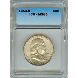 1953-S FRANKLIN SILVER 50 CENTS ICG MS65