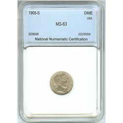 1905-S BARBER SILVER DIME  NNC MS63