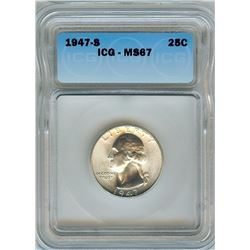 1947-S WASHINGTON SILVER QUARTER  ICG MS67