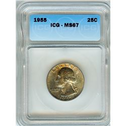 1955 WASHINGTON SILVER QUARTER  ICG MS67