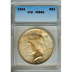 1924 PEACE DOLLAR  ICG MS66