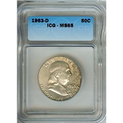 1963-D FRANKLIN SILVER 50 CENTS  ICG MS65