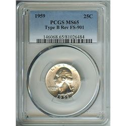 1959 WASHINGTON SILVER 25 CENTS - TYPE B REVERSE, FS-901 - PCGS MS65