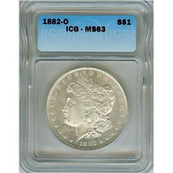 1882-O MORGAN SILVER DOLLAR  ICG MS63