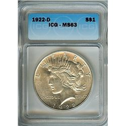 1922-D PEACE SILVER DOLLAR  ICG MS63