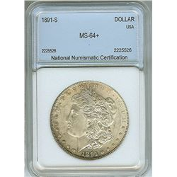 1891-S MORGAN SILVER DOLLAR  NNC MS64+
