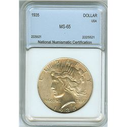 1935 PEACE SILVER DOLLAR  NNC MS65